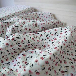 Baptiste de coton - Petites Fleurs - Blanc
