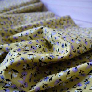 Baptiste de coton - Petites Fleurs - Moutarde