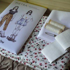 Kit Pietra - Short / Pantalon - Coton Petites Fleurs Blanc